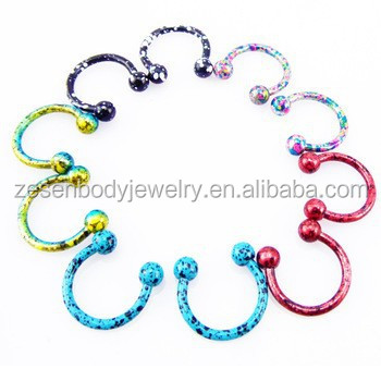 Mixed Color Fashion 16g Horseshoe Ring Micro Circular Barbell Nose Hoops Body Piercing Jewelry