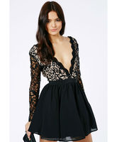 2014 Women New Fashion Dress Black Lace Sleeve Puff Ball Front&Back Deep V-Neck Evening Wedding Sexy Dress
