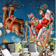 3D wall mural for Christmas Day Santa wallpaper for kids room decoration