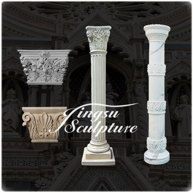 Hot Sell Hand Carved Home Decoration Roman Marble Column
