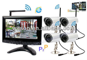 Witson wireless home security camera system with Monitor, P2P Network, Free DDNS, W3-KWD7904N