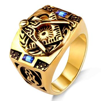 RI00127 Yiwu WT retro styled blue gem gold, personality titanium steel men's masonic ring wholesale