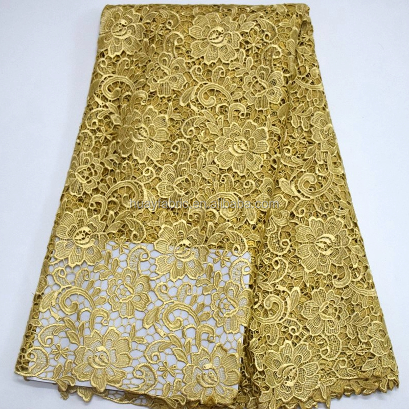 Fancy Gold Guipure Lace african lace fabrics gold cord lace wholesale HY0286
