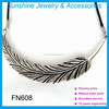 The European and American fashion feather design necklace personality rope chain necklace