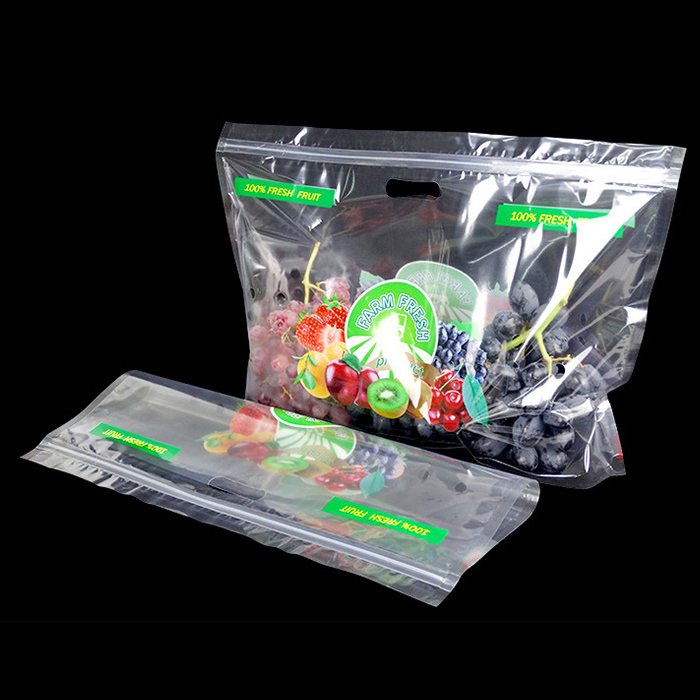 Transparent PET/CPP plastic fruit protection packaging bag mango bag with handle