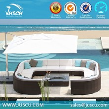 Juscu rattan round sofa outdoor furniture with coffee table bench