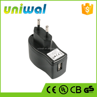 smart mobile phone power charger, wall type 5w 5v 1a usb charger with UL, GS, CE, FCC, BS, KC certificates