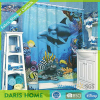 Blue Sea And Dolphin Wholesale Printed Shower Curtain