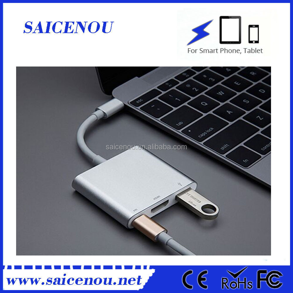 2017 Wholesale price silver color 3 ports super speedtype-c hub with HD function