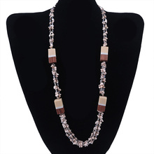 Crystal Jewelry Fashion Crushed Stone Bead Sweater Necklace