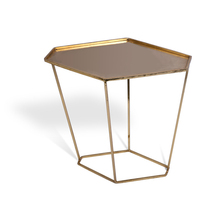 Hot sale fashion modern simple design golden plated metal iron pan hexagon side table
