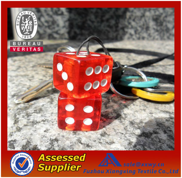 Promotional Best Quality Cheap Fashionable Transparent Plastic Dice Shape Keychain