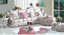 2013 modern pink styling sofa set is made by imported rubber wood and print fabric for living room
