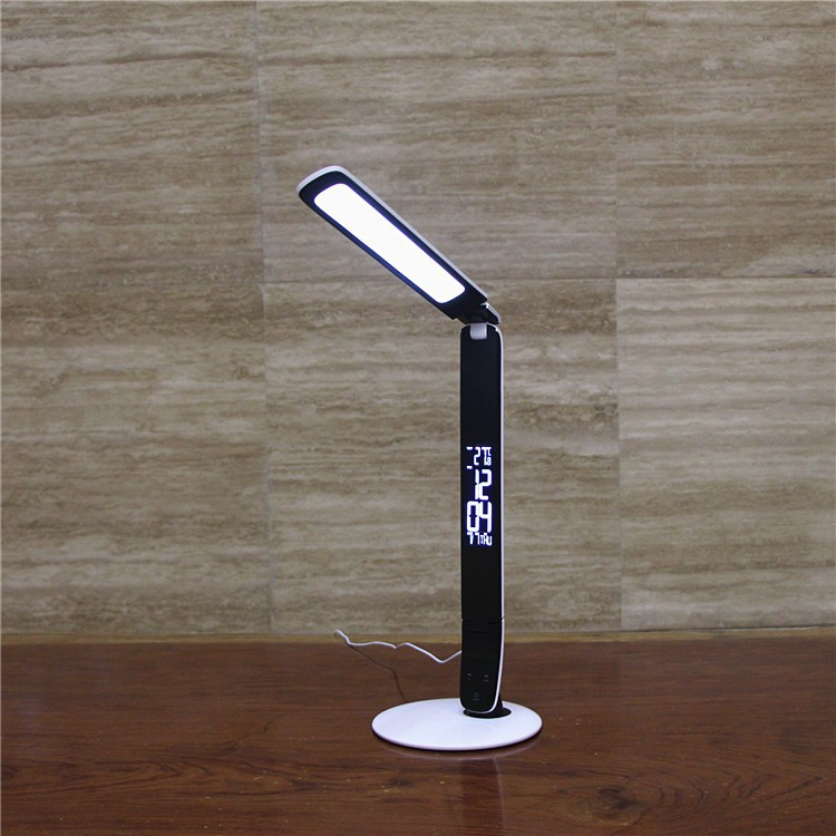 Foldable LED table lamp with digital clock display