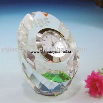 Glass Desk Crystal Glass Clock for Crystal Home Decoration