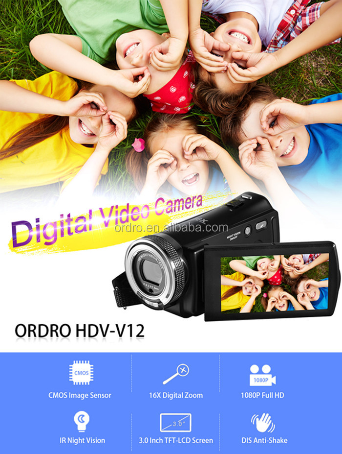 ORDRO Cheap Original Lightweight Digital Video Camera Infrared Night Vision Video Camera with Full HD1920x1080