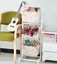 Factory Directly Paper hanging wooden shelf with woven storage basket for the sundries ,magazine collection