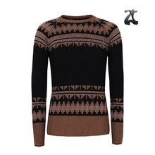 Low price high quality mens classic knit pattern crew neck wool thick warm sweater pullover for men