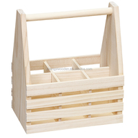 hot selling FSC custom unfinished pine 6 pack wooden beer wine whiskey glass bottle storage box tote carrier