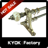 KYOK Home Decor Curtain Pole & Track Threaded Metal Eyelets, Hotel Luxurious Decorative Double Curtain Rod Bracket