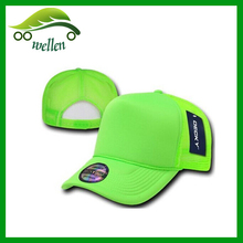neon green 100% polyester trucker mesh baseball cap wholesale