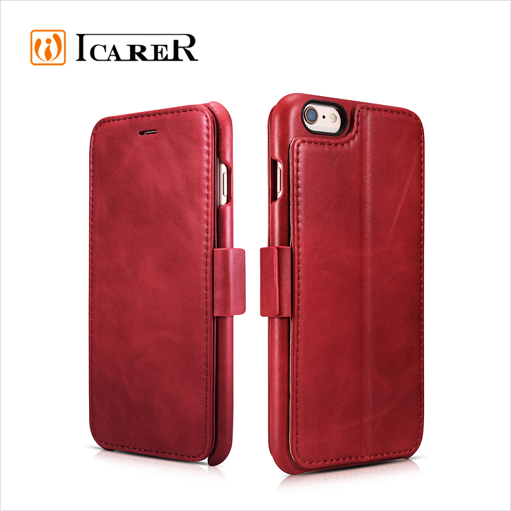 ICARER Costomized Vintage Genuine Leather Folio Phone Wallet Case for iPhone 6 Plus
