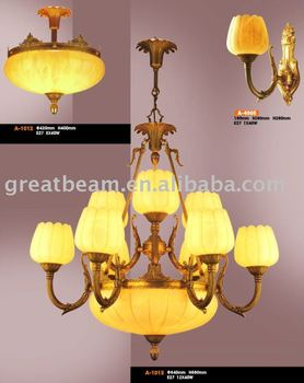 European Big Alabaster and Brass Chandelier A1013