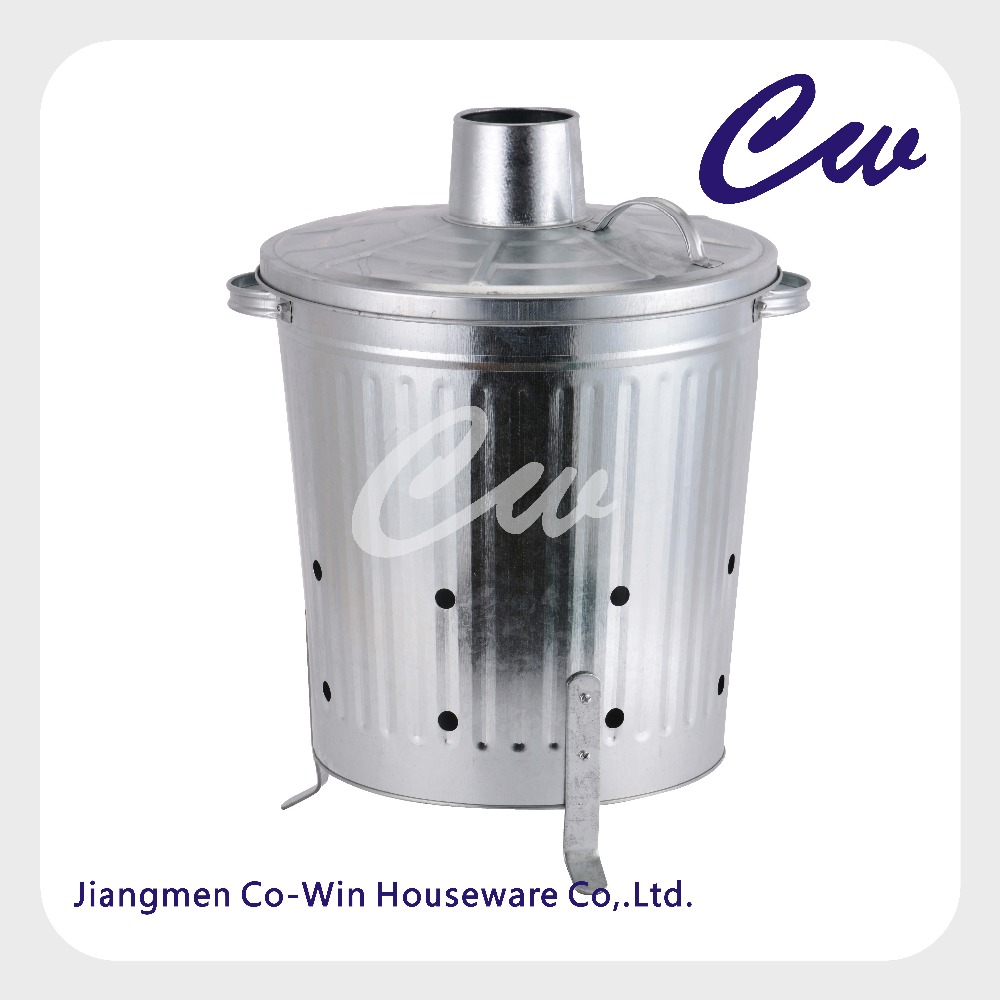 Galvanized Metal Garden Incinerator Can With Cover / Rubbish Grabber by Gardenware / Composter / Waste Burner