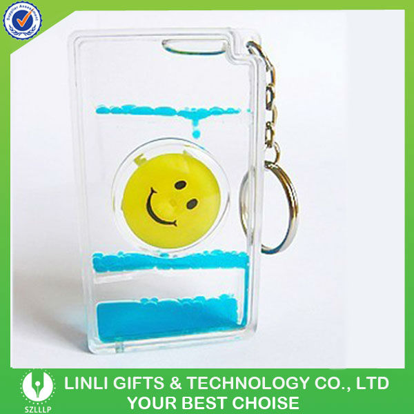 promotional acrylic oil filled floater keyrings gift
