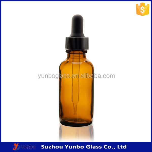 High Quality Amber Glass 30 ml Dropper Bottle with Black Glass Dropper