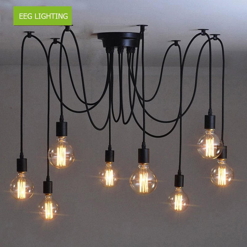 2018 Vintage Edison Multiple Ajustable DIY Ceiling Spider Lamp Light Pendant Lighting <strong>Modern</strong> Chic Industrial Dining