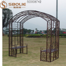 manufacturer vintage metal rose garden decorative arch wrought iron gate with chair for wedding festival