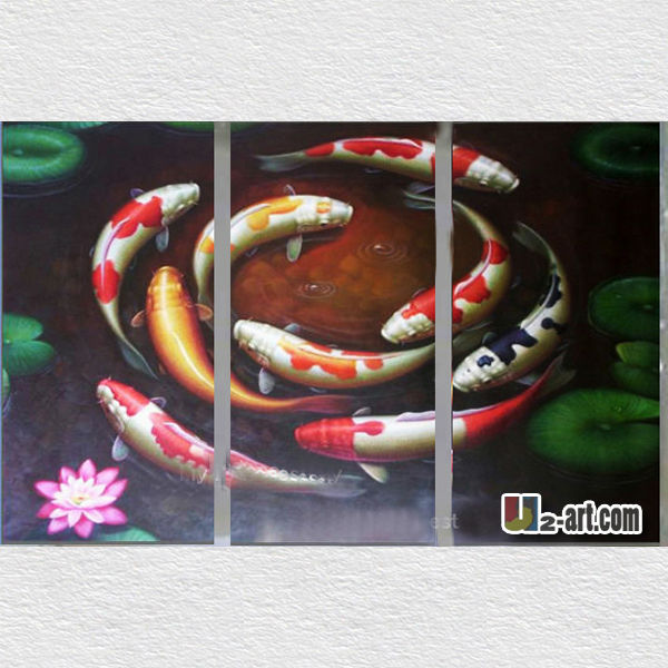 Good symbol paint carp fishing oil painting for living room