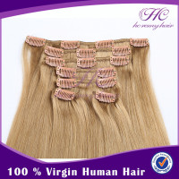Alibaba hot sell virgin russian straight hair clip human hair blonde
