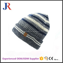 Amy new fashion winter crochet hat knitted beanies custom leather logo hats