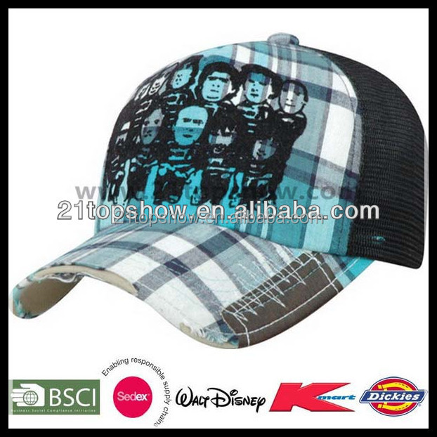 Fashion mesh wholesale plaid snapback cap