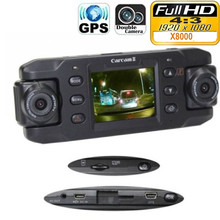 3U-80190 Dual Lens Car Camera X8000 with GPS Full HD 1080P G-sensor 180 degree rotating lens Vehicle DVR Dash Cam Recorder CA365