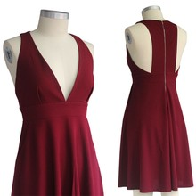 Fashion spaghetti strap above knee women casual deep V neck red mini skirt dress sleeveless bodycon dress with pockets