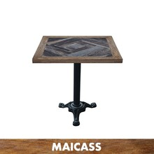 Industrial style solid joint wood restaurant square top table