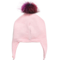 Myfur Customized Cute Set Of Knitting Hat and Scarf Cotton Yarn with Detachable Fur Pom Pom For Girls Kids