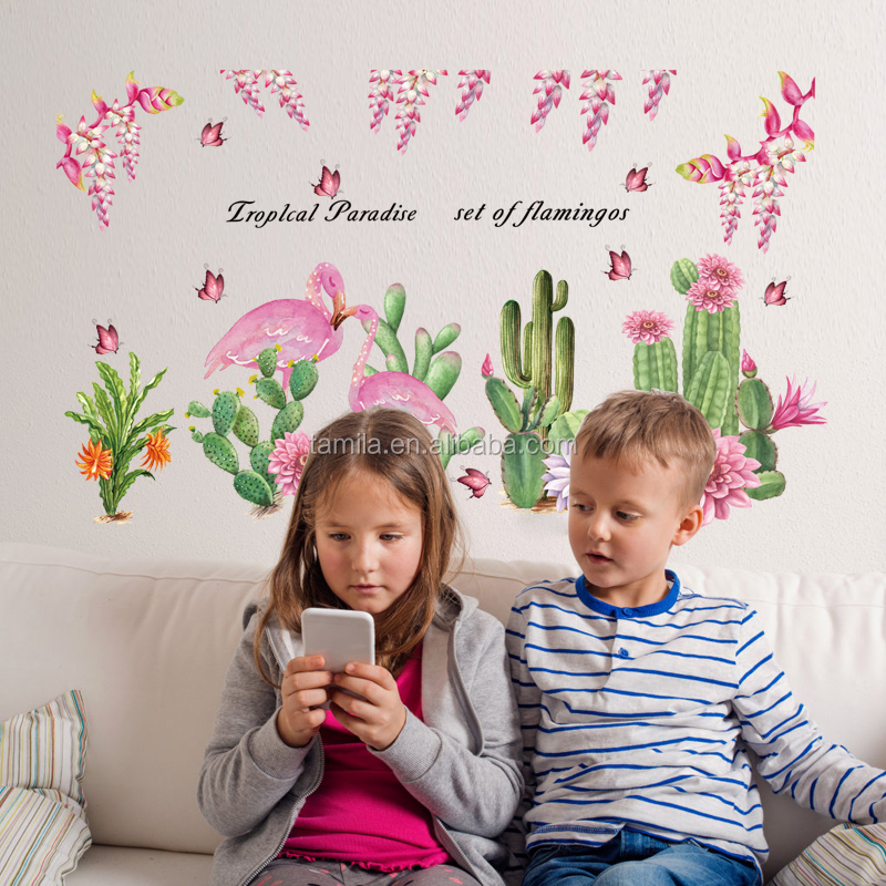 Cute cactus art wall sticker for kids children room bedroom home decorative flamingo wall decals waterproof murals
