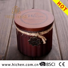 Scented feature with wooden lid 10oz frosted glass candle jar candle