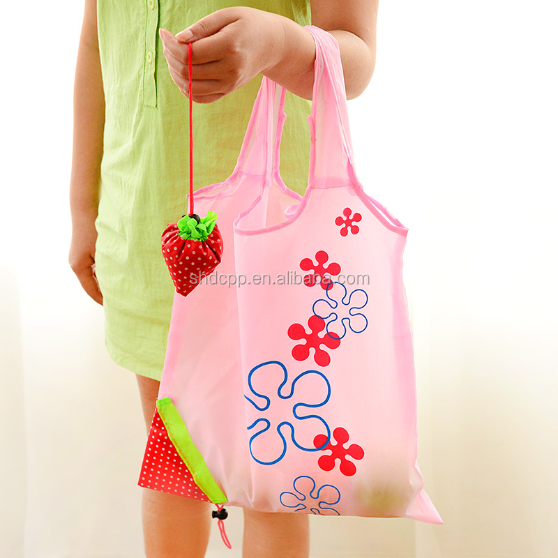 2015 shanghai recycled supermarket vegetable folding polyester shopping bag with logo