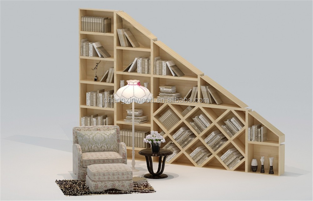 Particle board tree-shape wooden book shelf / bookcase