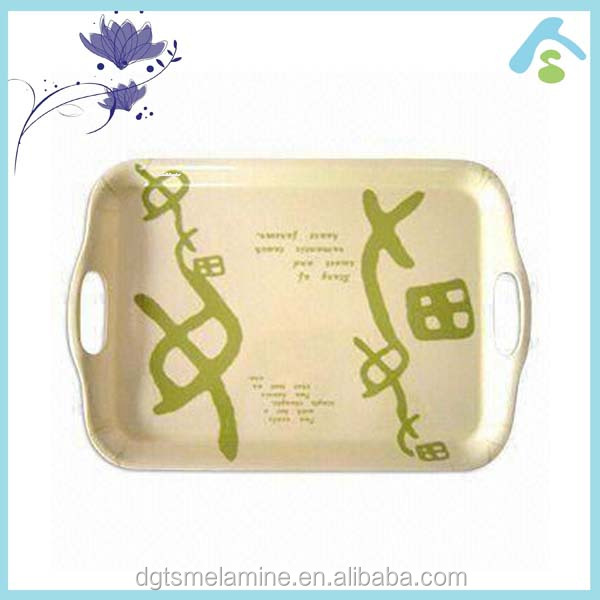 large rectangle melamine serving tray with handles
