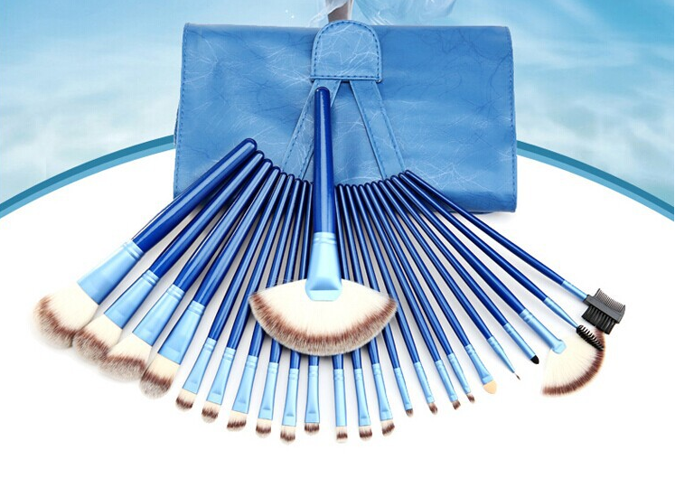Blue color 24 pcs professional makeup brushes set with leather bag