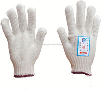 7/10 gauge white knitted cotton gloves manufacturer in china/knitting glove for working place