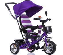 CE Approved Steel Frame 4-in-1 Trike for Kids with EVA/Air Tyre, Cheap Kids Trike with Canopy and Push Bar, Baby Trike