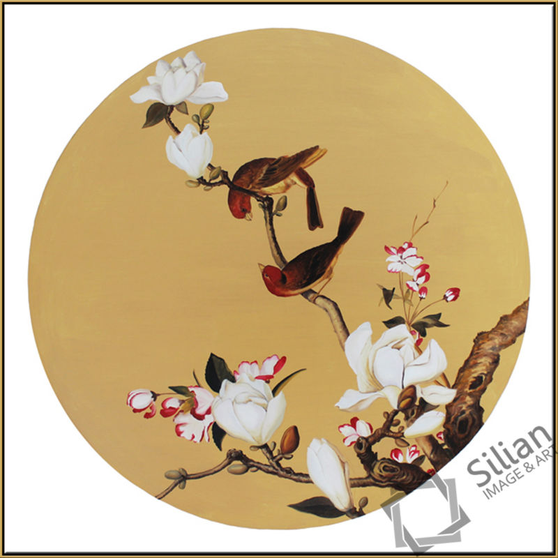 Modern handmade abstract group hand made flower and birds oil painting,china wind