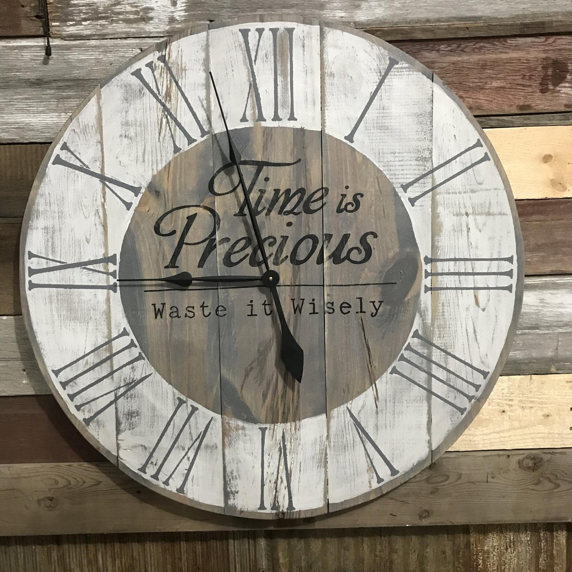 Farmhouse Rustic Barn Vintage Solid Wood Big Oversized Wall Clock